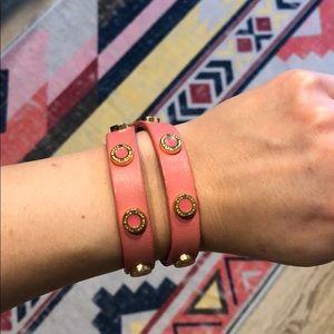 Tory Burch Leather Wrap Bracelet, Pink
